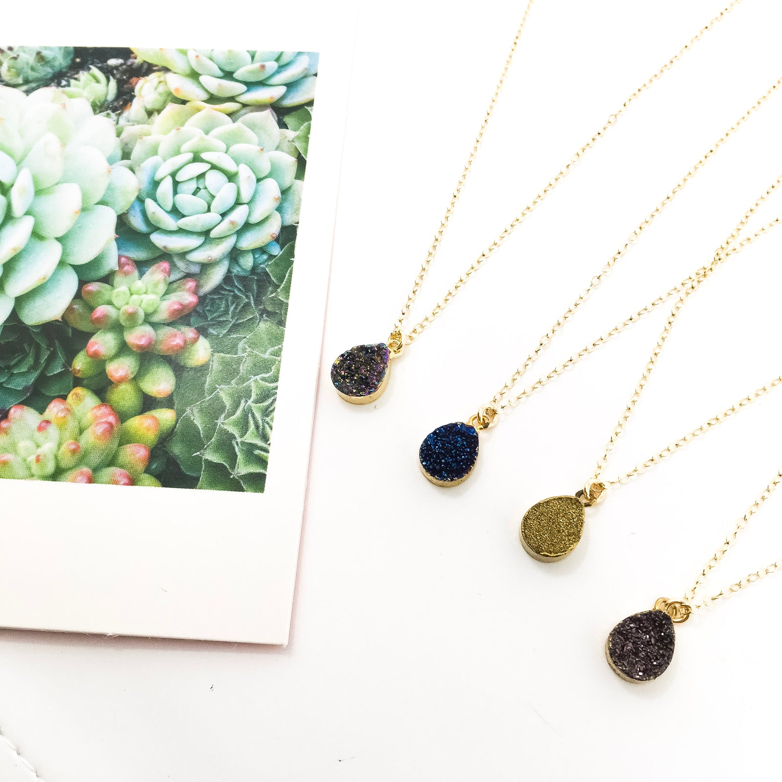 STONE DRUZY DROP 14K GOLD-FILLED NECKLACES | COLOR OPTIONS