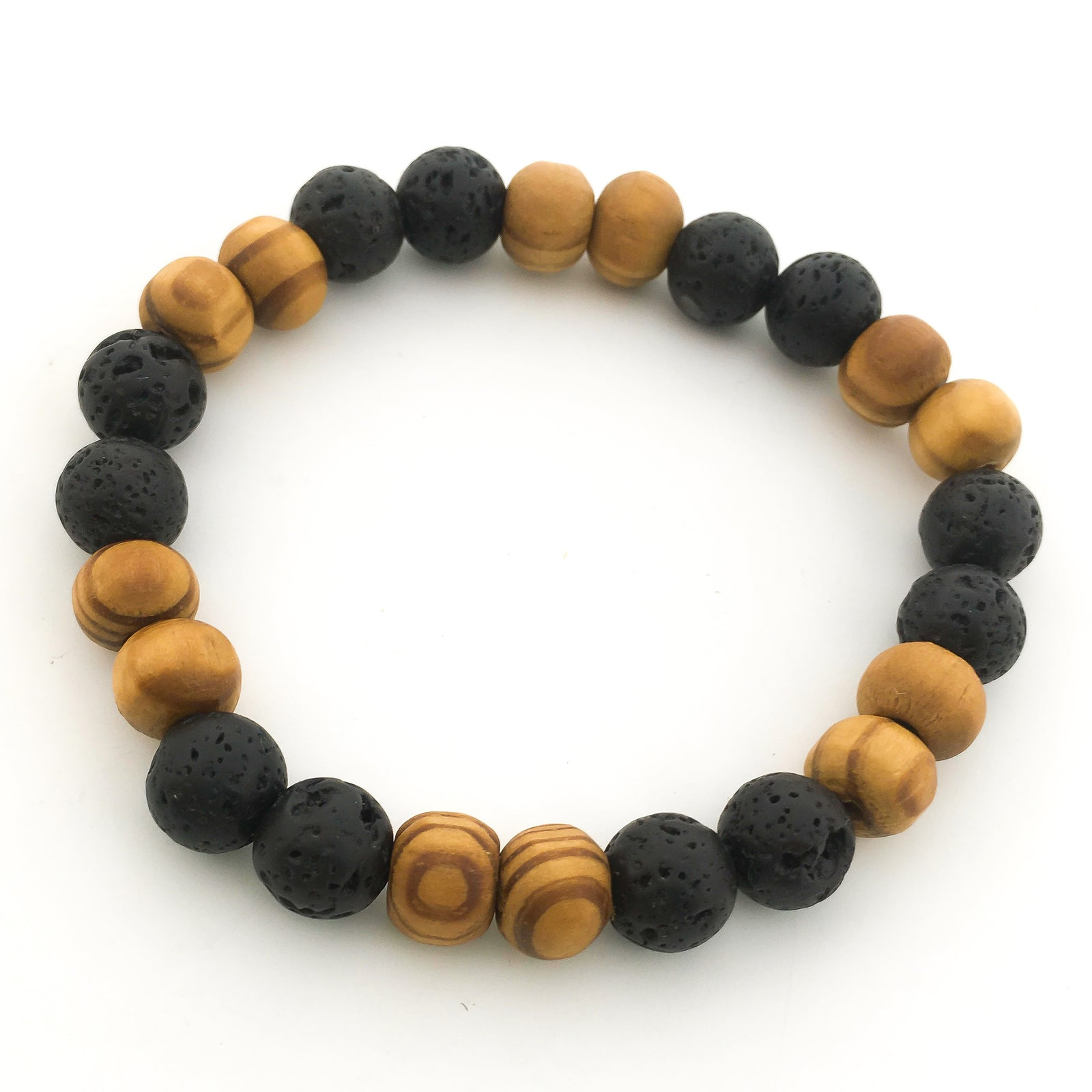 DOUBLE PATTERN LAVA & WOOD DIFFUSER BRACELET
