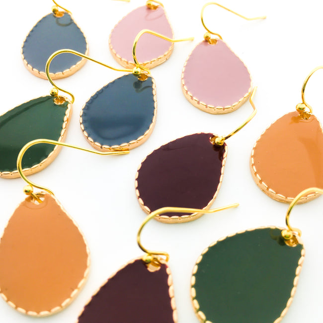 SOLID DROP ENAMEL EARRINGS | GOLD | COLOR OPTIONS