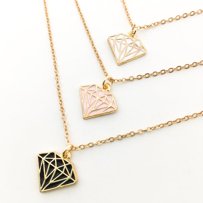 COLORFUL DIAMOND NECKLACES | GOLD | COLOR OPTIONS