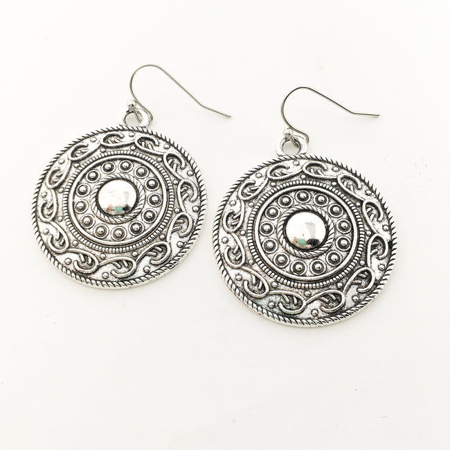 BOHO SHIELD EARRINGS | SILVER