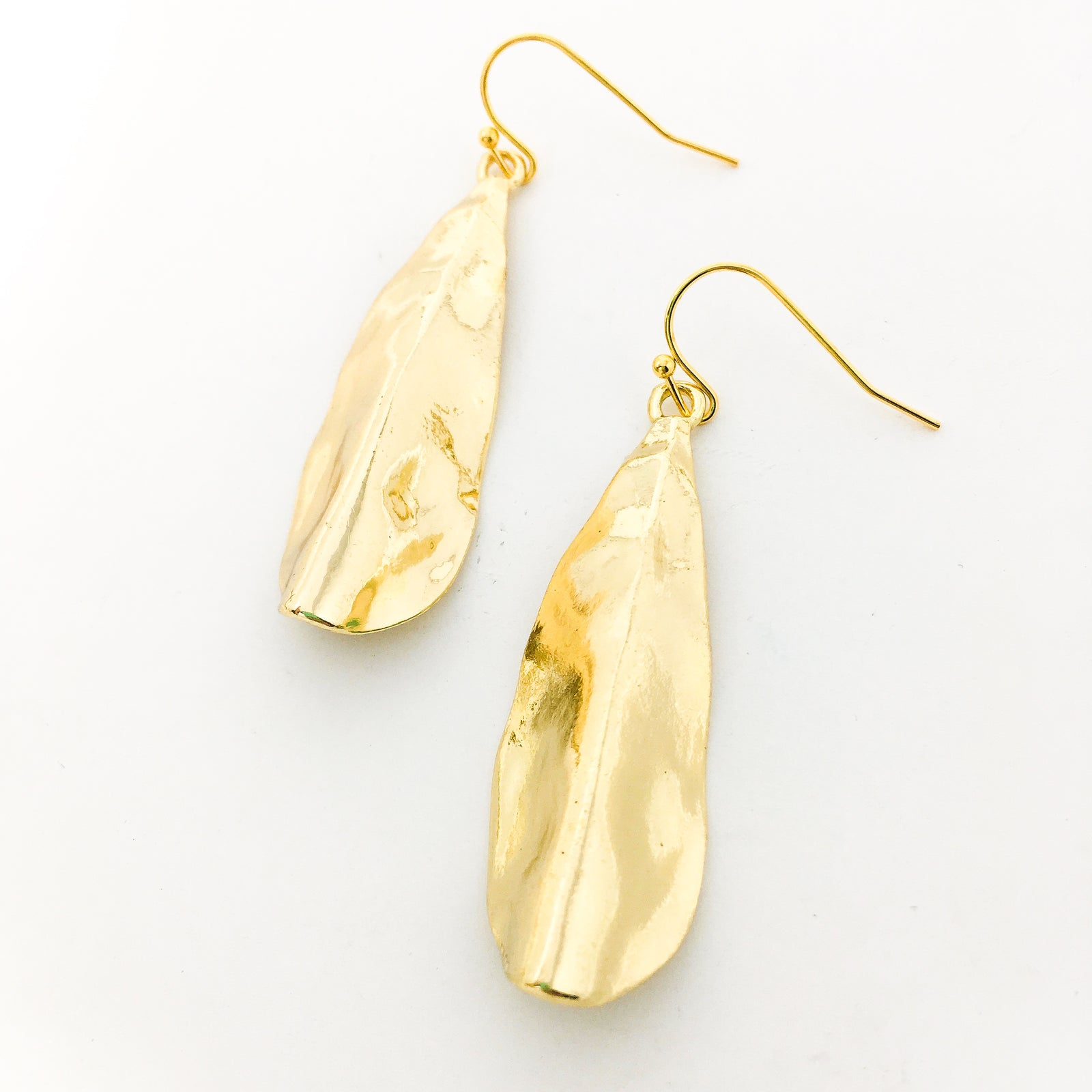 FOLDED TEXTURE DROP EARRINGS | GOLD