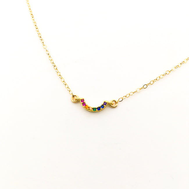 MINI RAINBOW BAR NECKLACE | 14K GOLD-FILLED