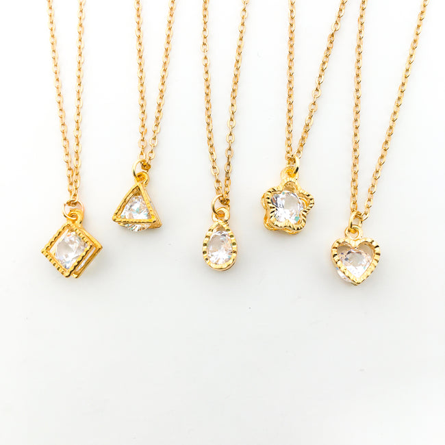 HANGING CRYSTAL NECKLACES | GOLD | STYLE OPTIONS