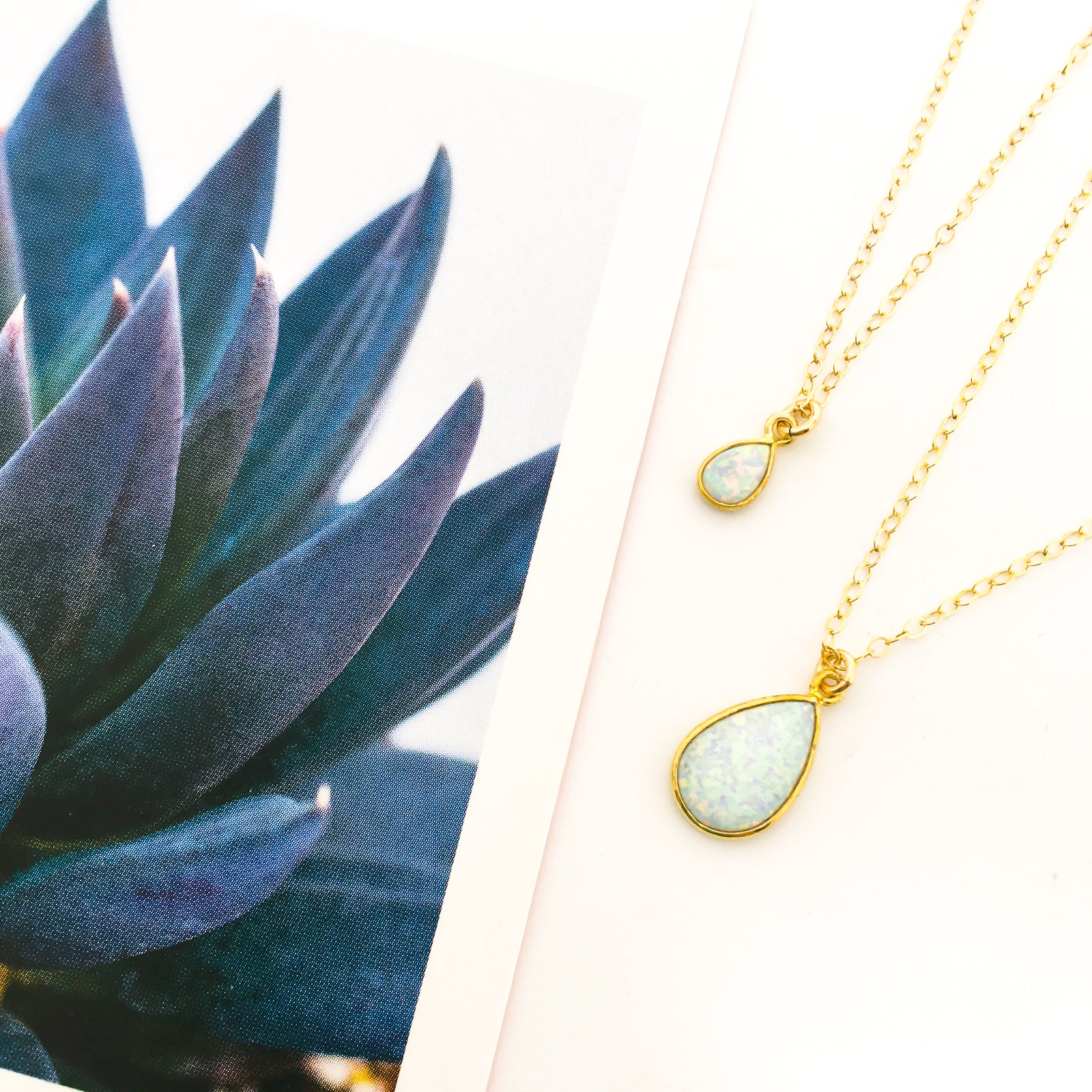 TEAR DROP LAB OPAL STONE NECKLACES | 14K GOLD-FILLED | SIZE OPTIONS