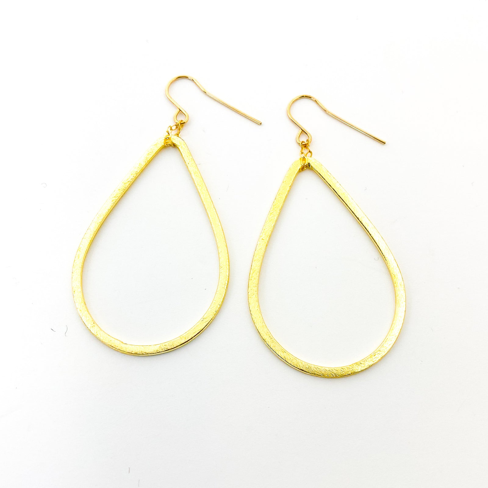 BRUSHED HANGING OPEN DROP EARRINGS | 14K GOLD-FILLED | SIZE OPTIONS