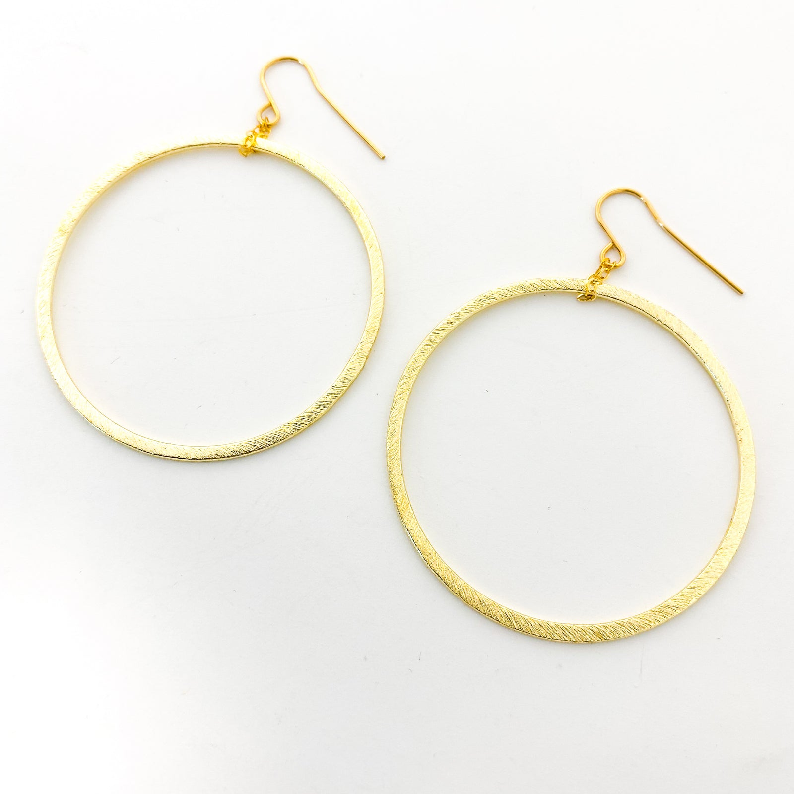 HANGING BRUSHED HOOPS | 14K GOLD-FILLED | SIZE OPTIONS
