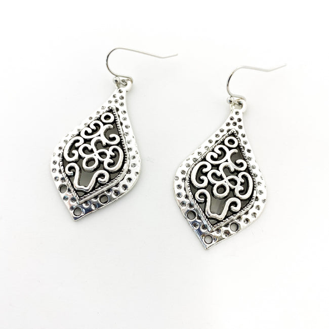 SILVER PATTERN CATHEDRAL DROP EARRINGS