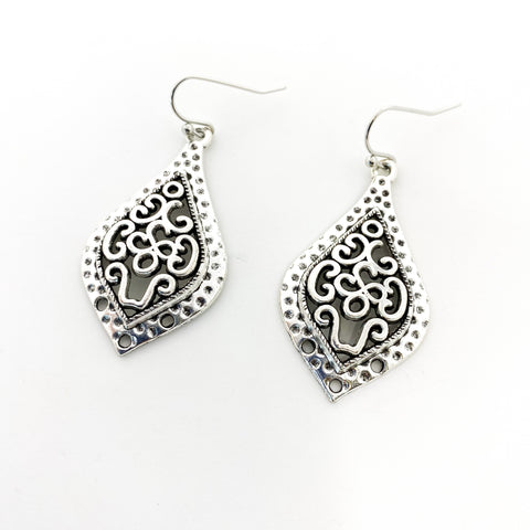 FLORAL SILVER DROP EARRINGS