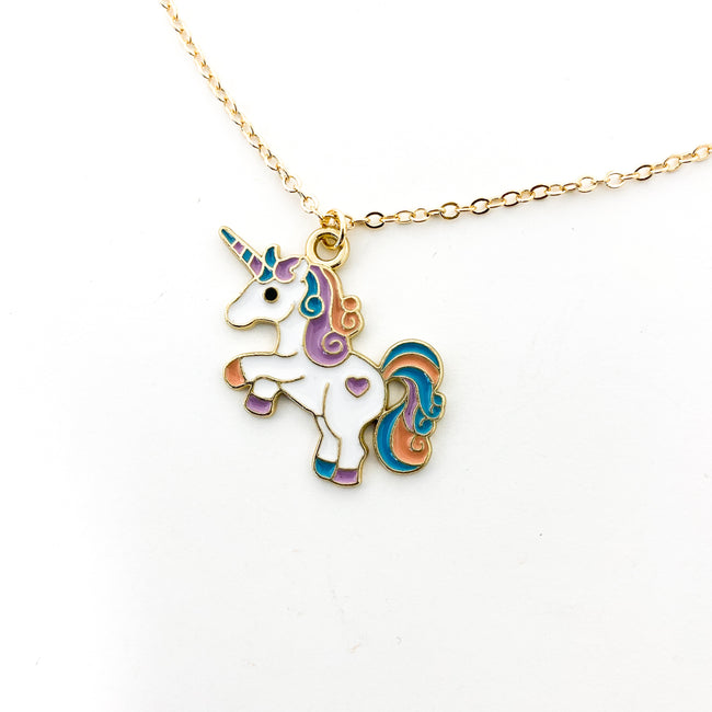 KIDS COLORFUL UNICORN NECKLACE | GOLD