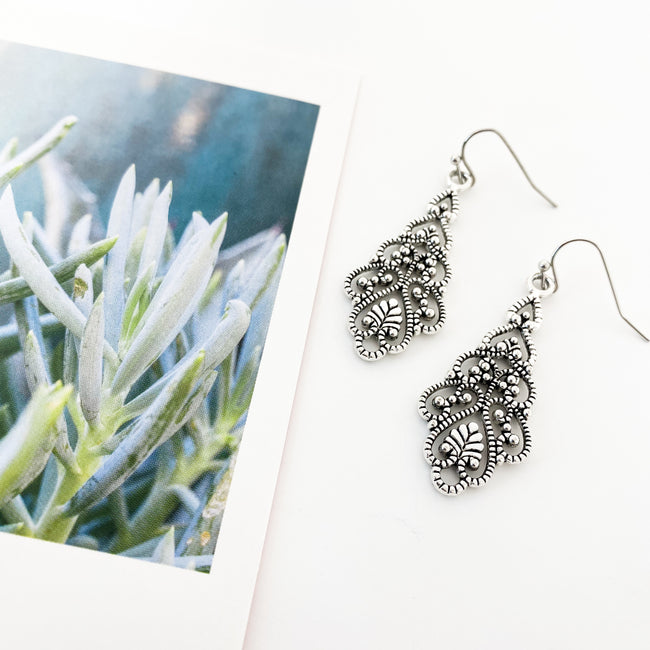 LAYERED LEAF EARRINGS | SILVER