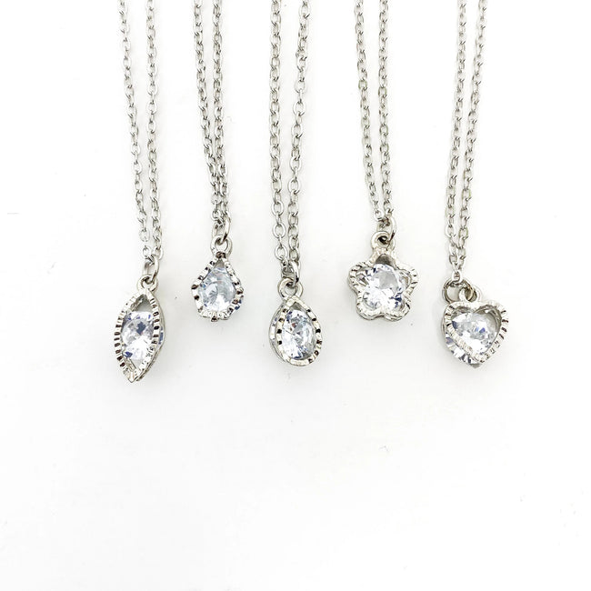 HANGING CRYSTAL NECKLACES | SILVER | STYLE OPTIONS