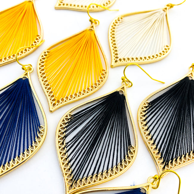THREAD ACCENTED LEAF EARRINGS | GOLD | COLOR OPTIONS