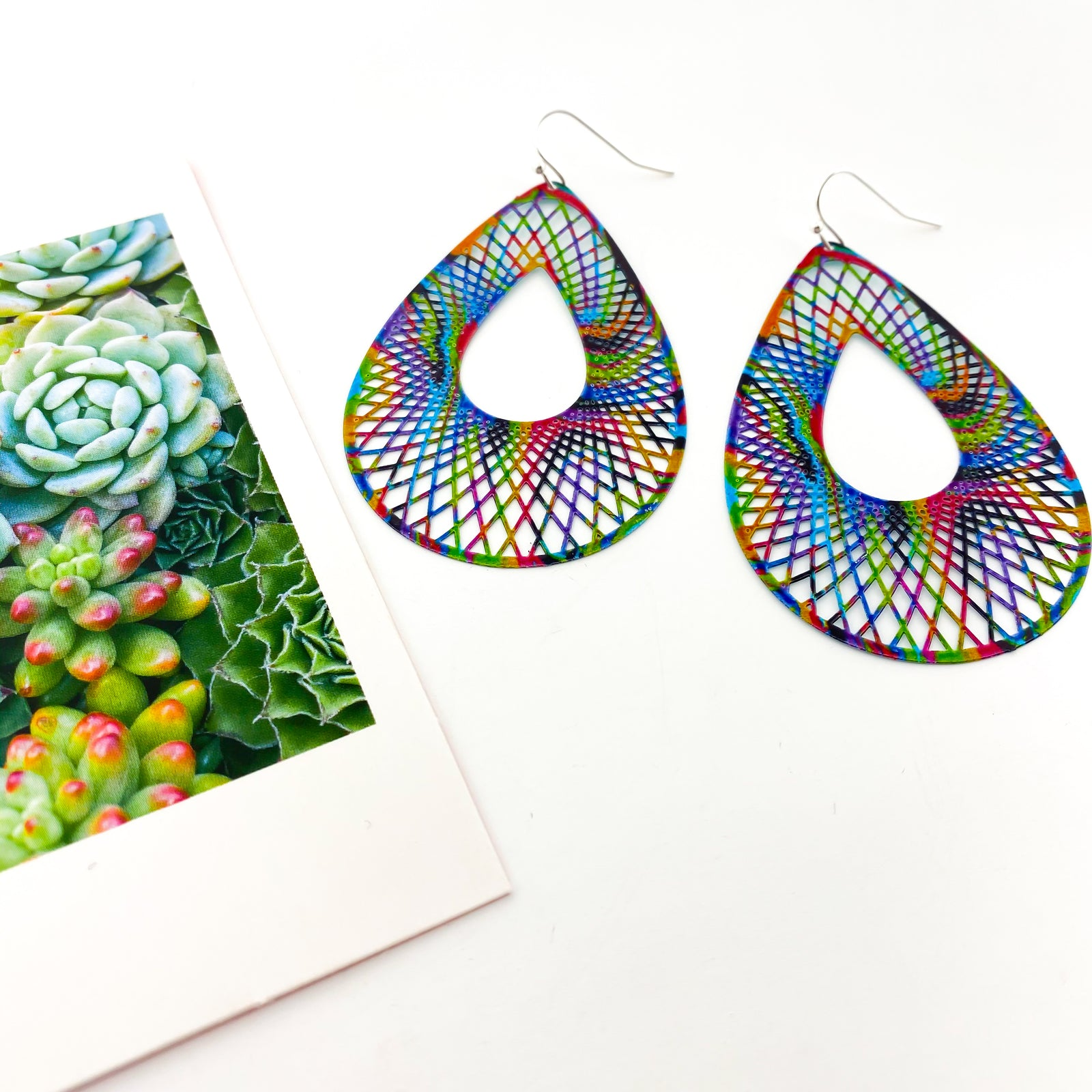 LARGE COLORFUL DOUBLE SIDED DROP EARRINGS