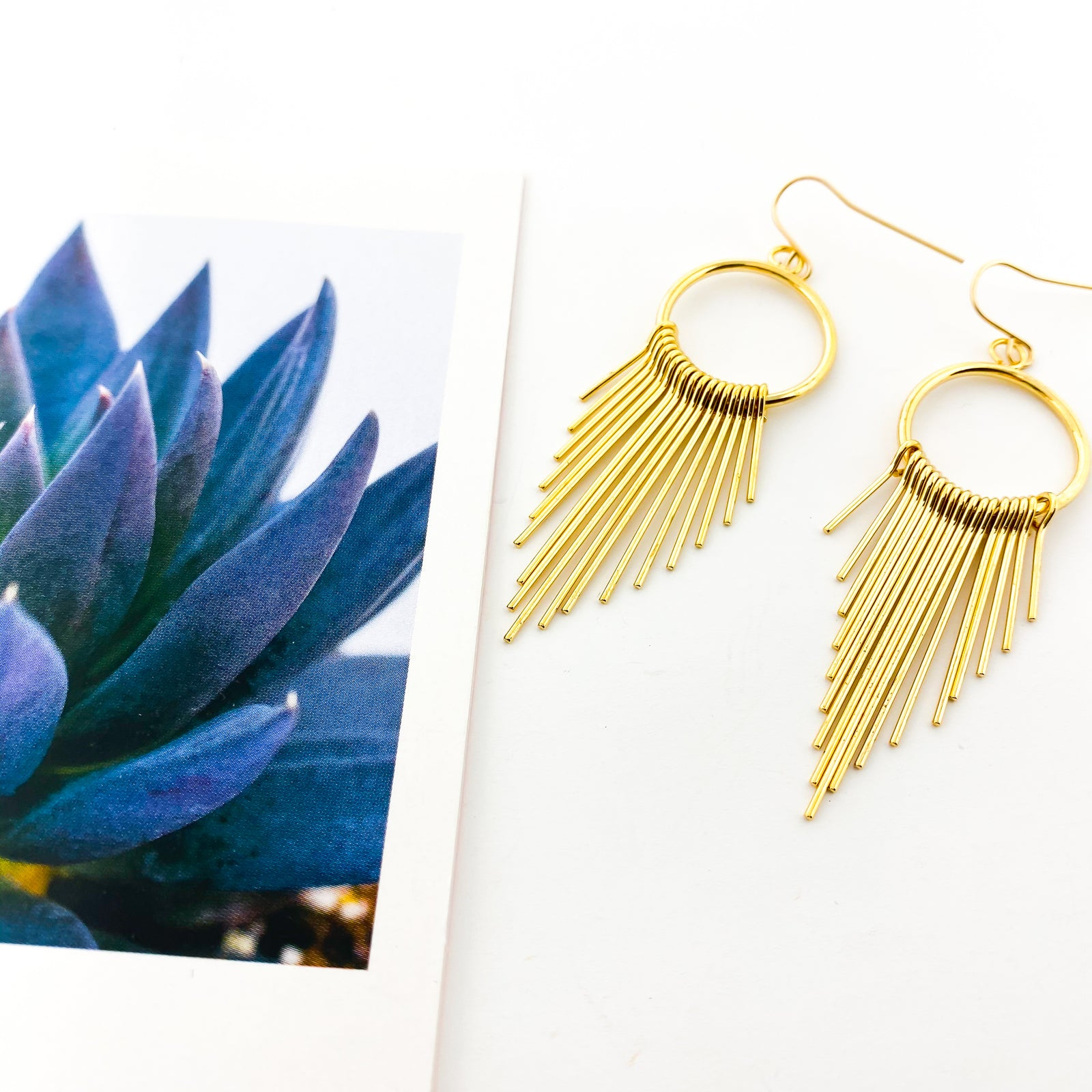 HANGING BAR FRINGE EARRINGS | 14K GOLD-FILLED