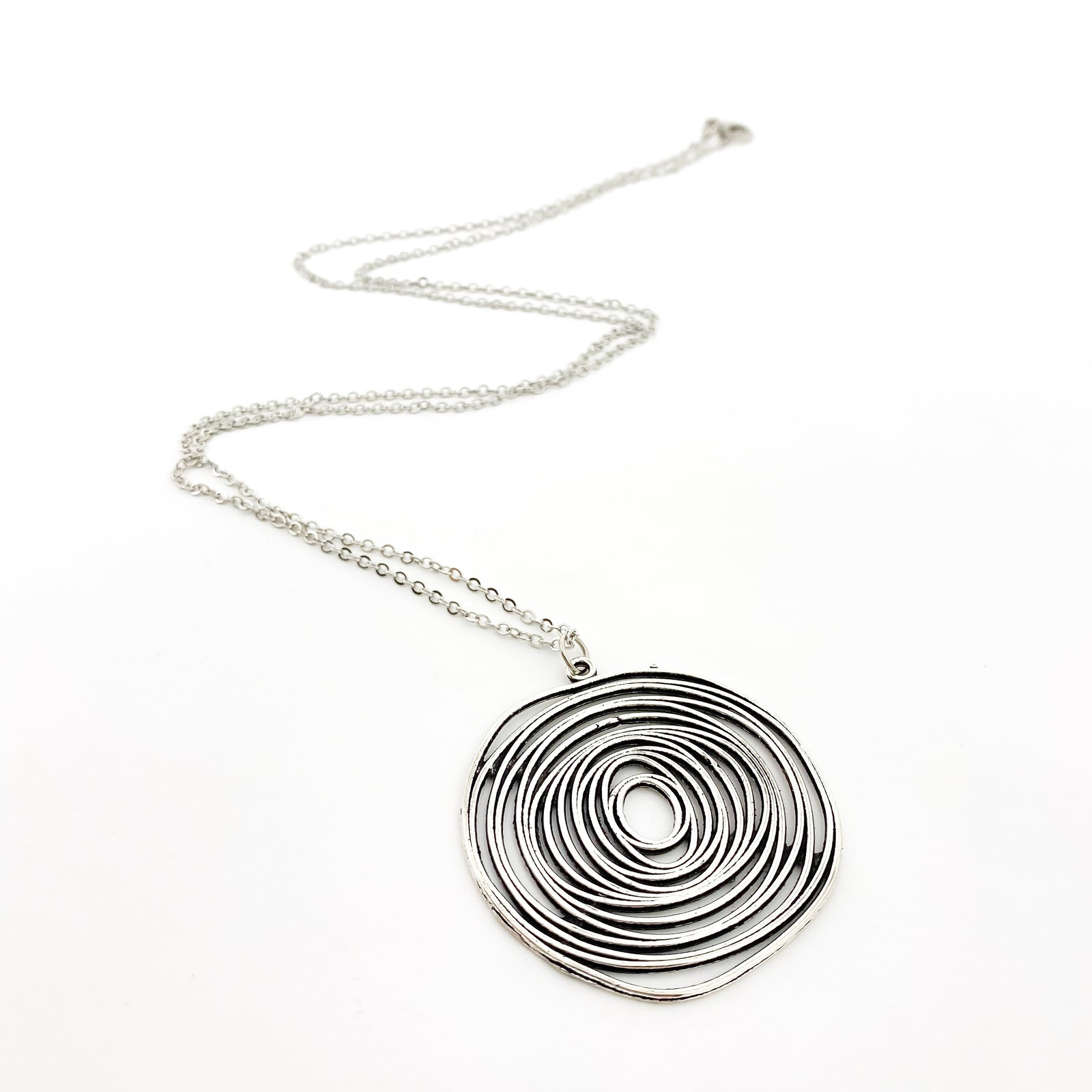 SPIRAL LARGE SPHERE NECKLACE | SILVER