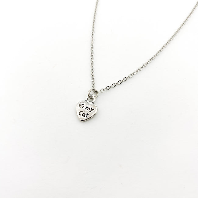 LOVE MY CAT DOUBLE-SIDED NECKLACE | SILVER