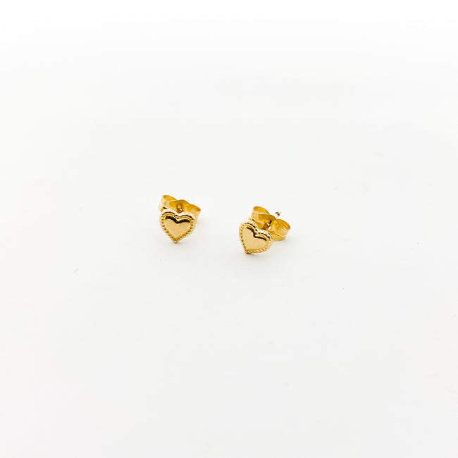 MINI DOTTED HEART STUD EARRINGS | 14K GOLD-FILLED