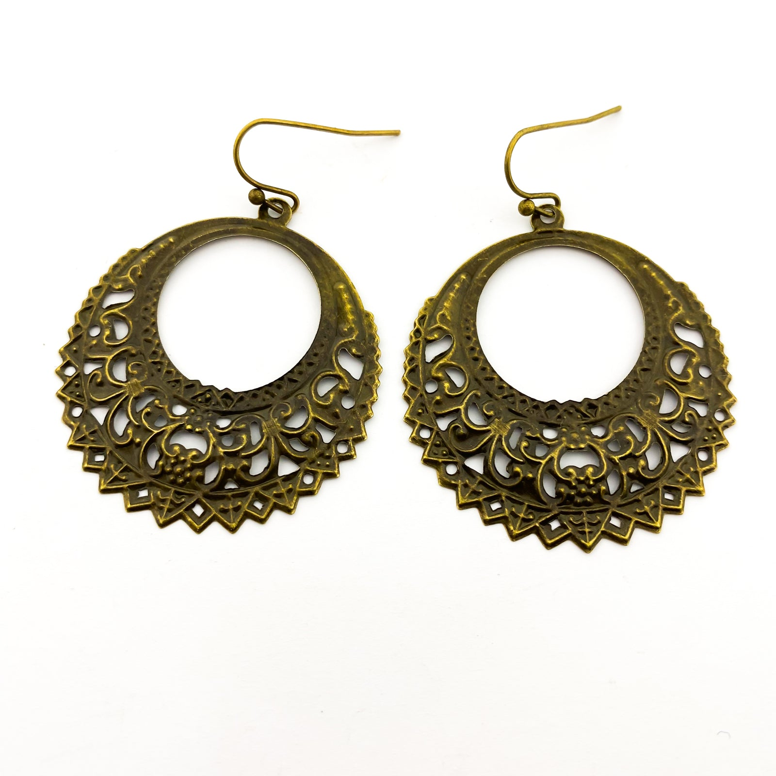 SPIKED PATTERN HOOPS | BRONZE