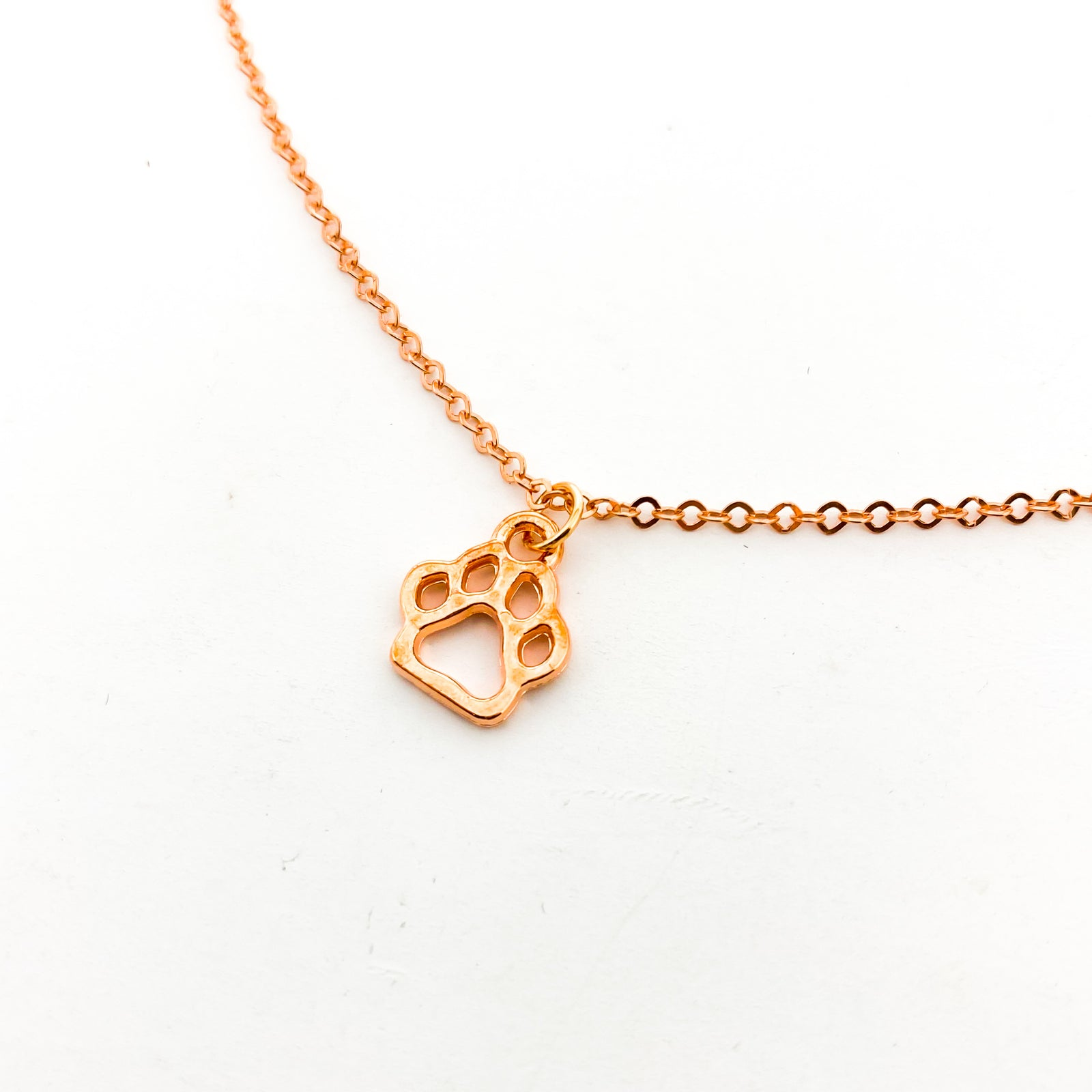 MINI PAW PRINT NECKLACE | ROSE GOLD