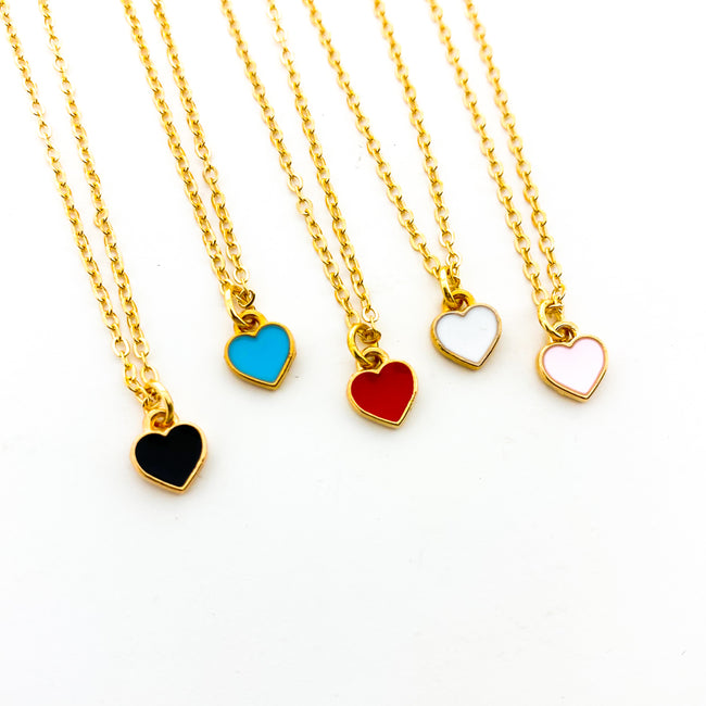 MINI HEART NECKLACES | GOLD | COLOR OPTIONS