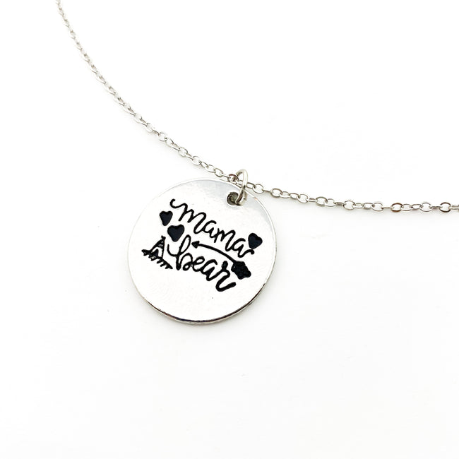 MAMA BEAR CIRCLE NECKLACE | SILVER