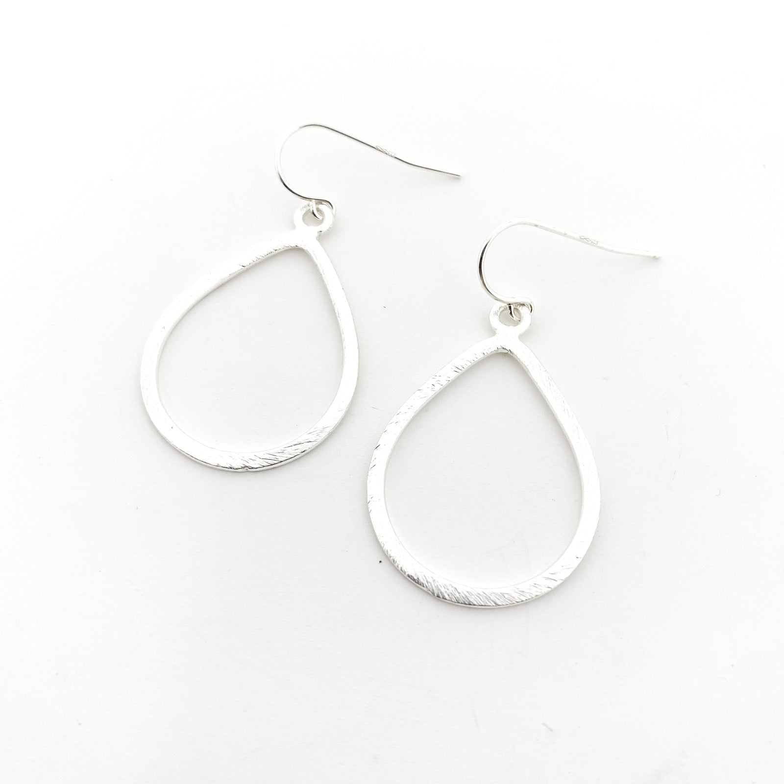 BRUSHED OPEN DROP EARRINGS | STERLING SILVER