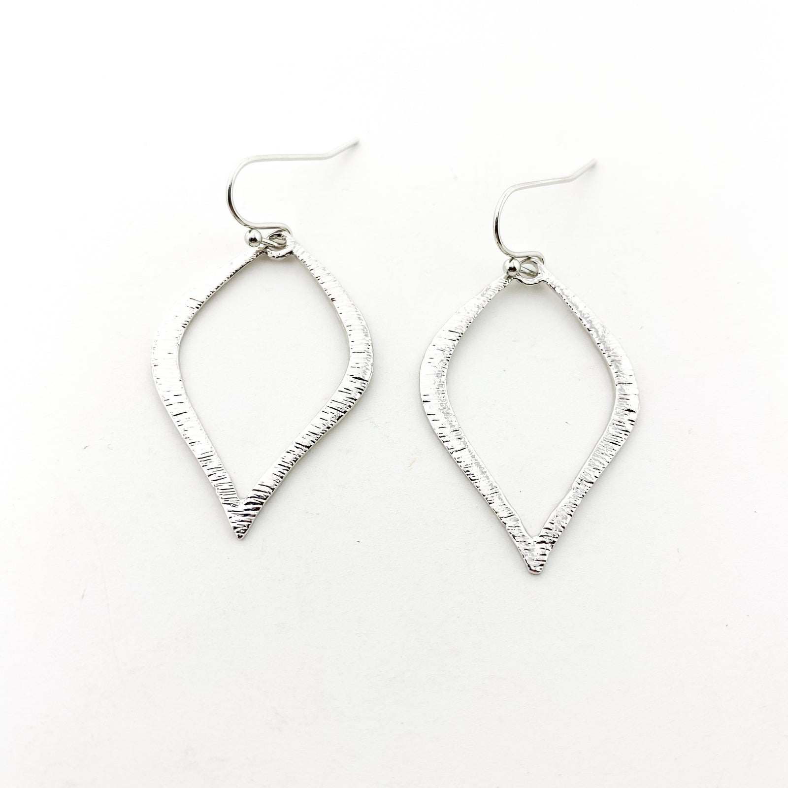 TEXTURED PETAL DROP EARRINGS | RHODIUM BRUSHED