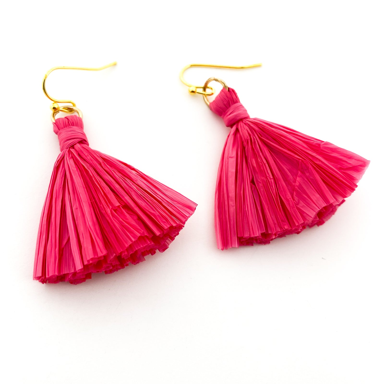 RAFFIA PAPER TASSLE EARRINGS | GOLD | STYLE OPTIONS