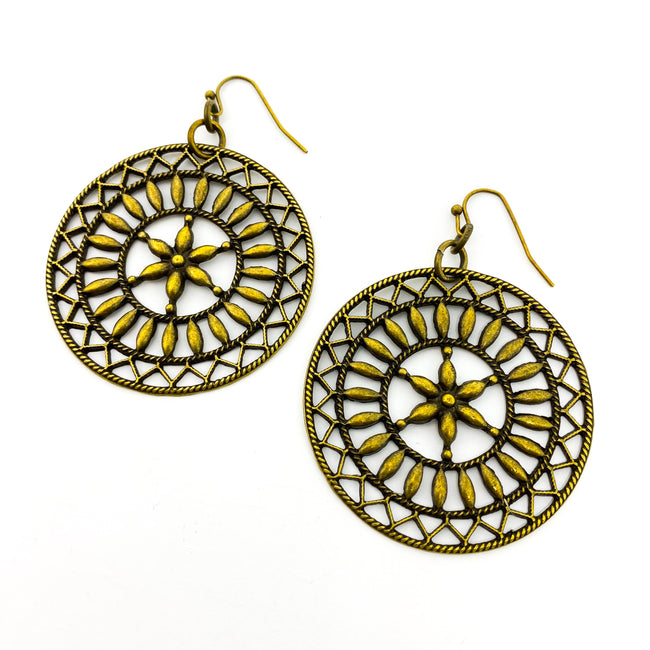 SIRENS WHEEL EARRINGS | BRONZE