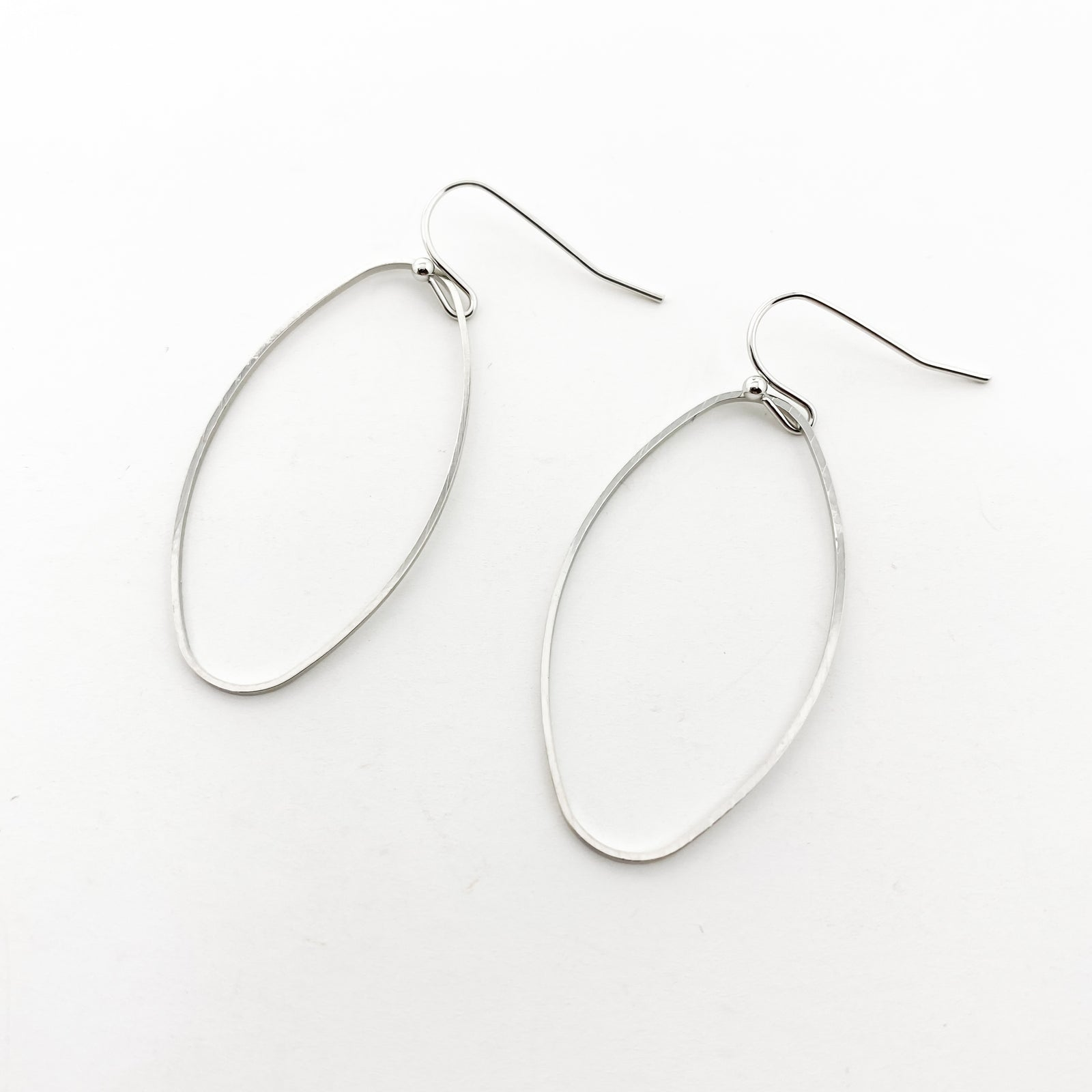 SILVER UNIQUE OVAL EARRINGS