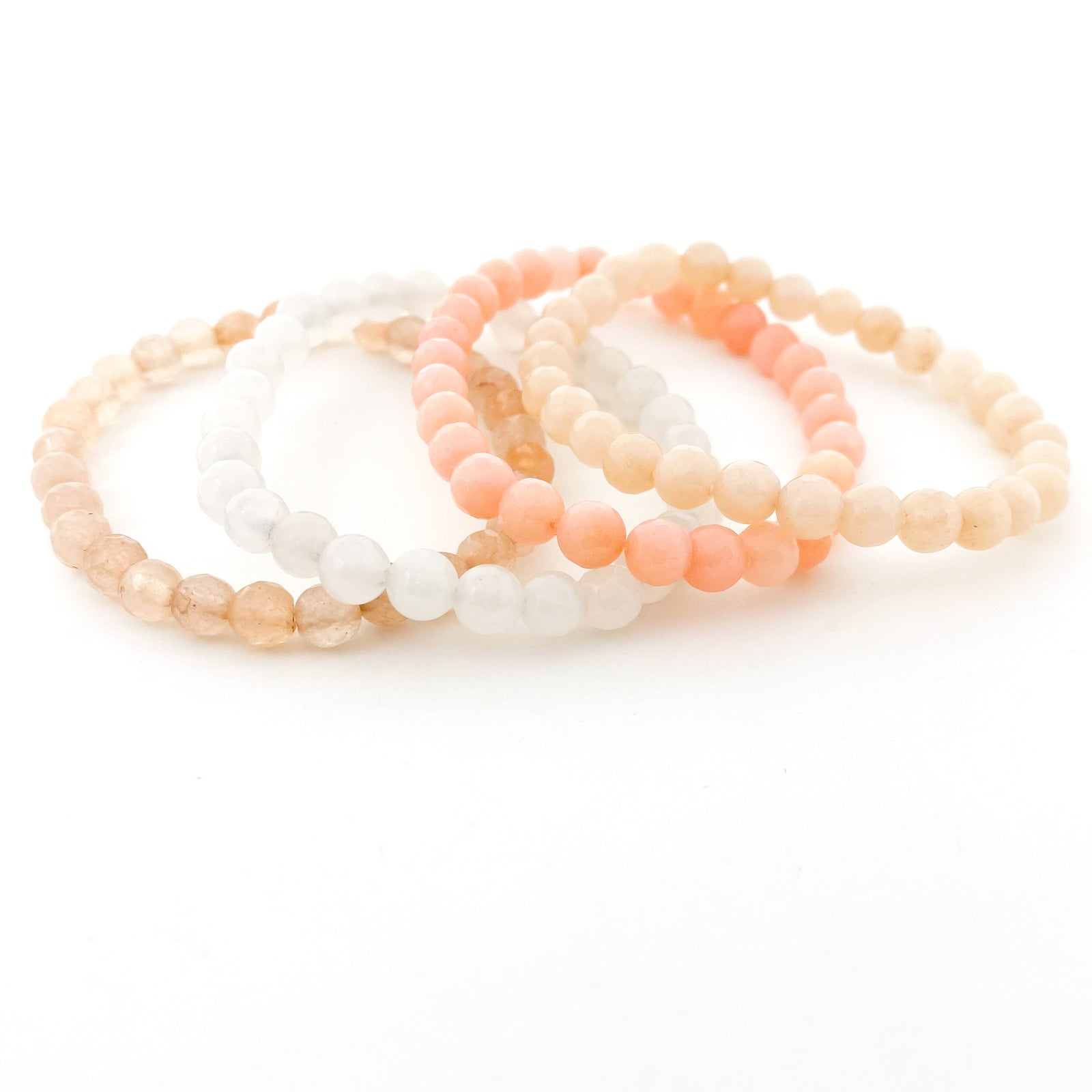 CHAMPAGNE FACETED AGATE BRACELETS | 6MM | STYLE OPTIONS