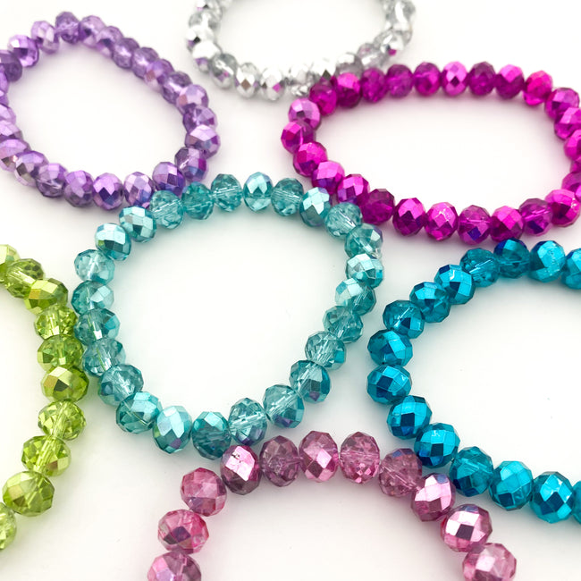 KIDS BRIGHT CRYSTAL BRACELETS | 8MM | MULTI COLOR OPTIONS