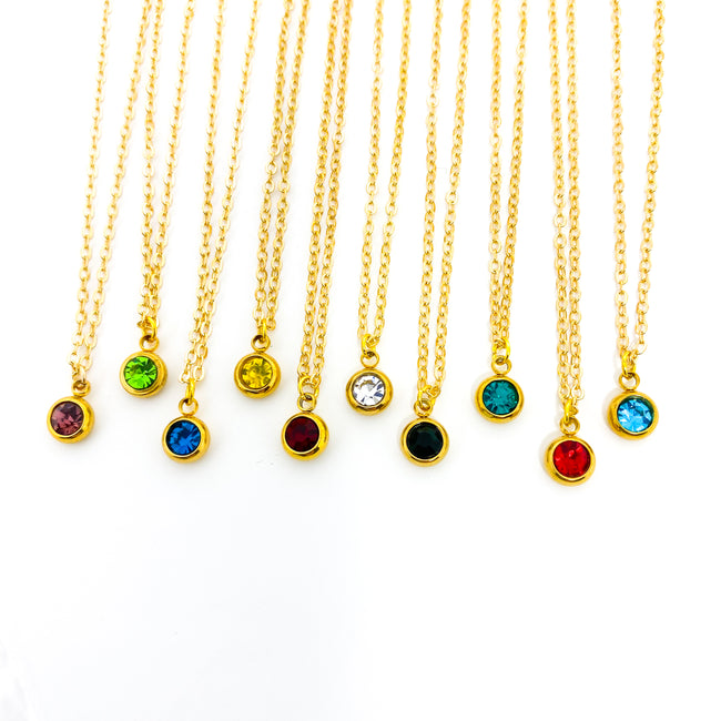DAINTY BIRTHSTONE NECKLACES | GOLD | COLOR OPTIONS