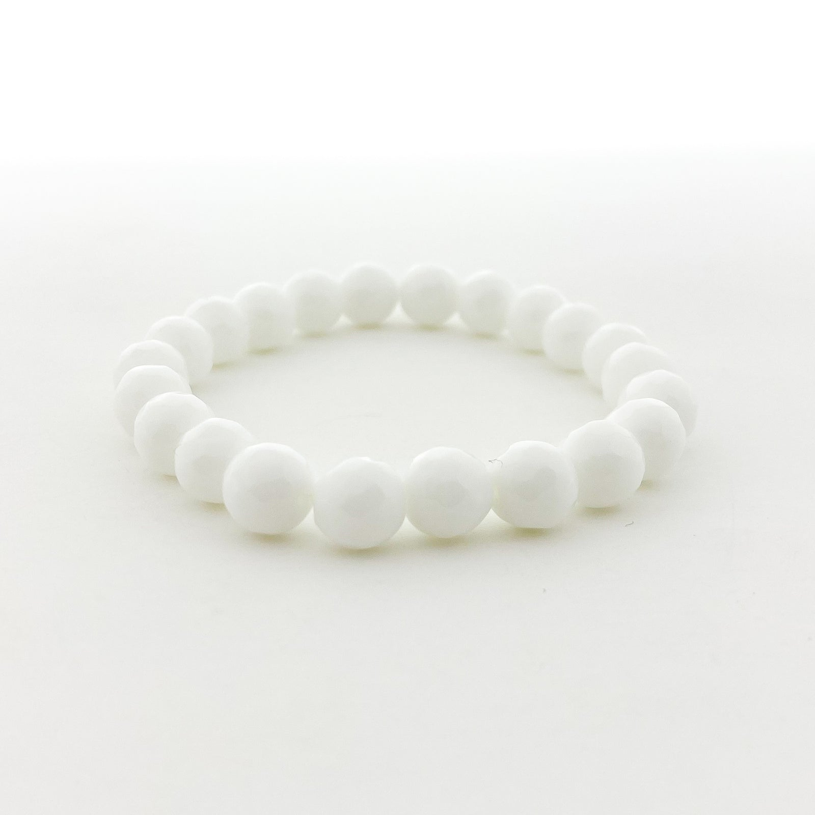 CREAM AGATE FACETED BRACELETS | 8MM | STYLE OPTIONS