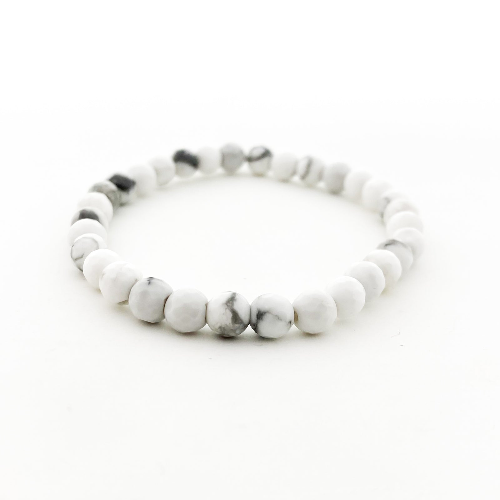 FACETED WHITE HOWLITE BRACELET | 4MM & 6MM