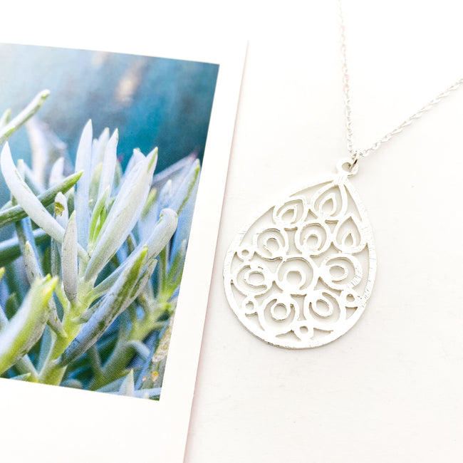 LONG BRUSHED FLORAL DROP NECKLACE | SILVER