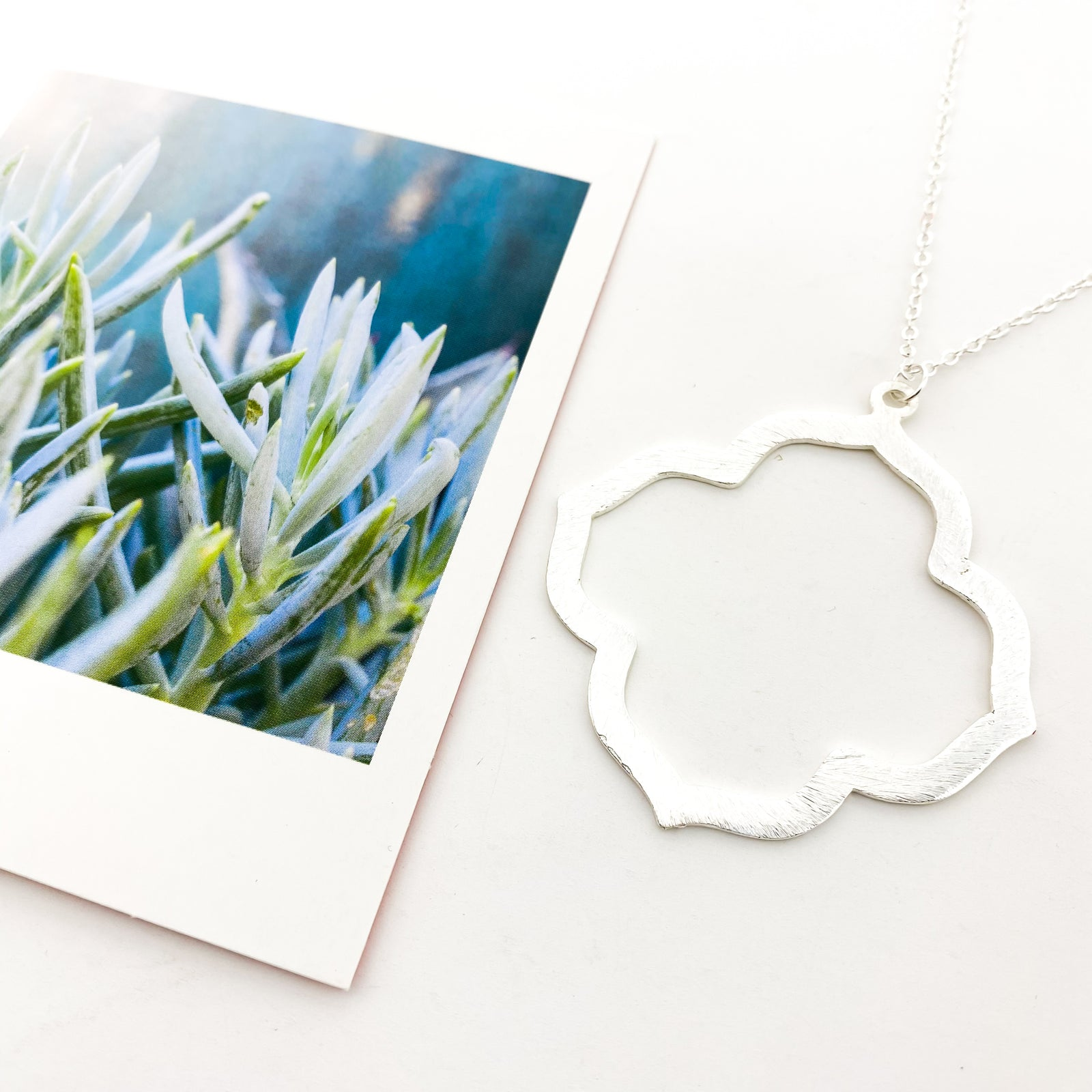 LONG BRUSHED VAN CLEEF NECKLACE | SILVER