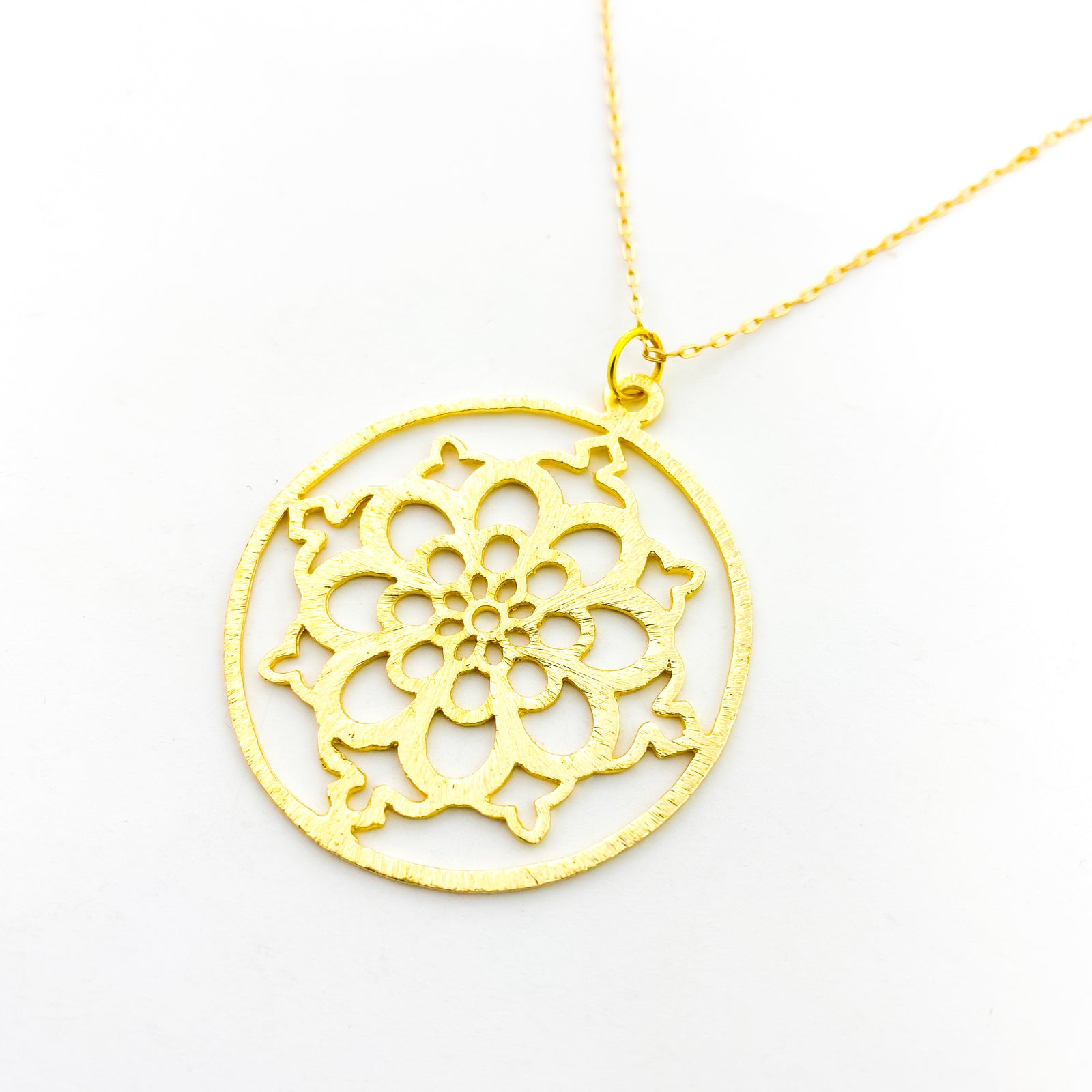LONG BRUSHED HANGING FLORAL NECKLACE | GOLD