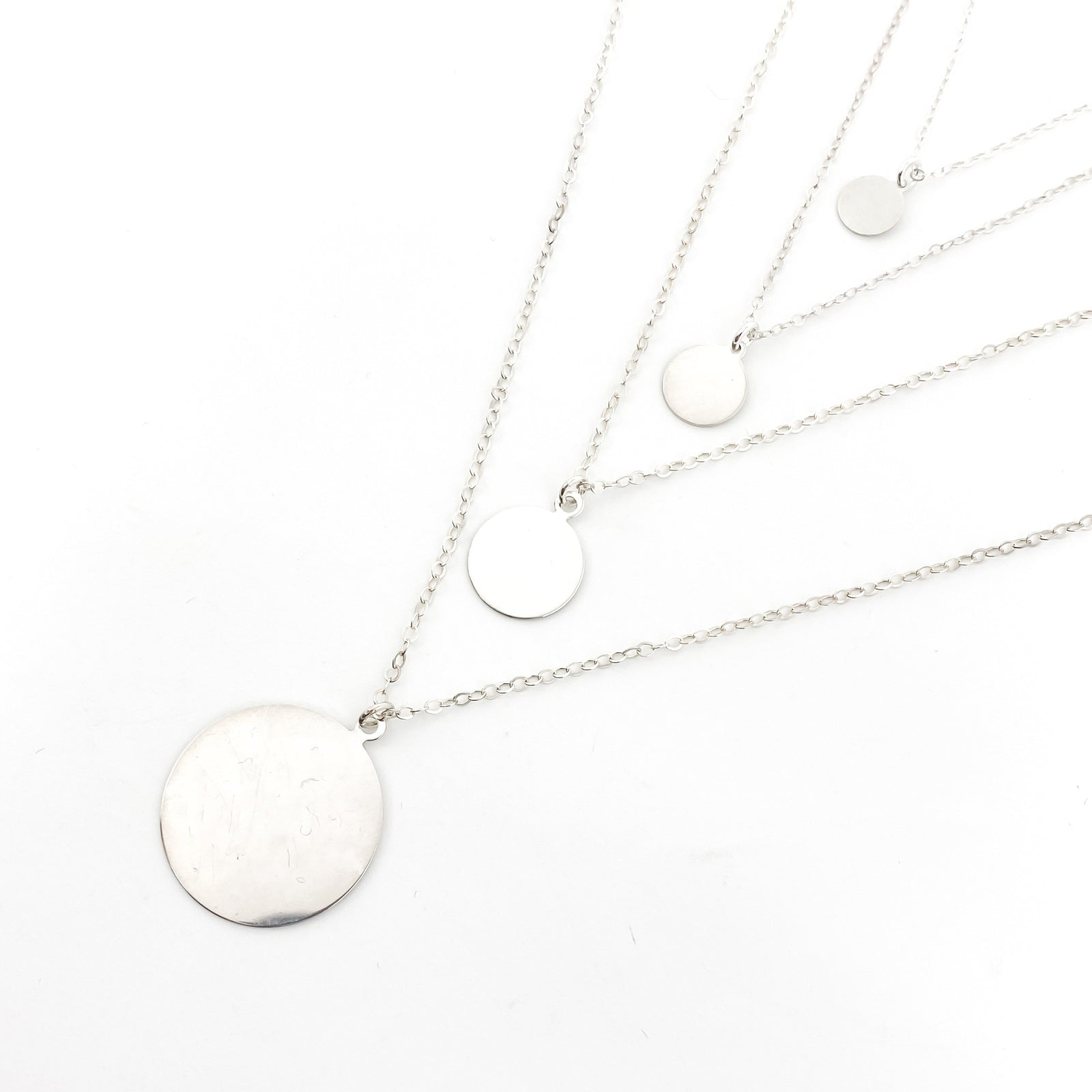STERLING SILVER DISK NECKLACES | SIZE OPTIONS
