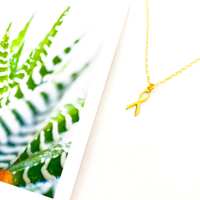 AWARENESS RIBBON NECKLACE | 14K GOLD-FILLED