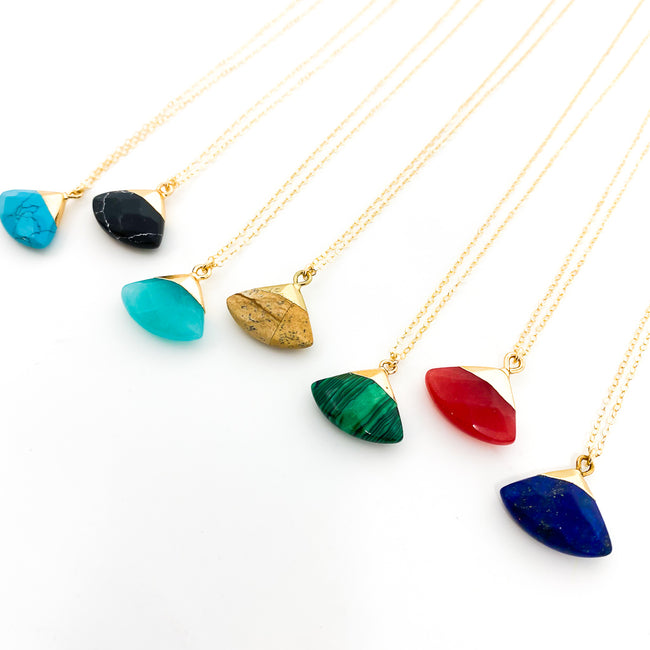 TRIANGLE FACETED STONE NECKLACE | 14K GOLD-FILLED | STYLE OPTIONS