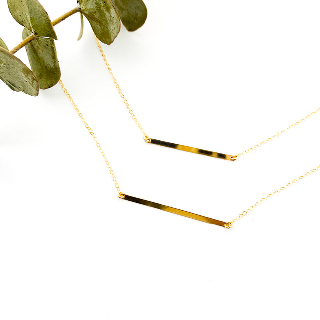 THIN LONG BAR NECKLACES | 14K GOLD-FILLED | SIZE OPTIONS