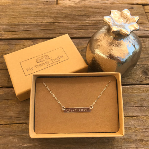 SILVER TRIPLE INITIAL STAMPED NECKLACE
