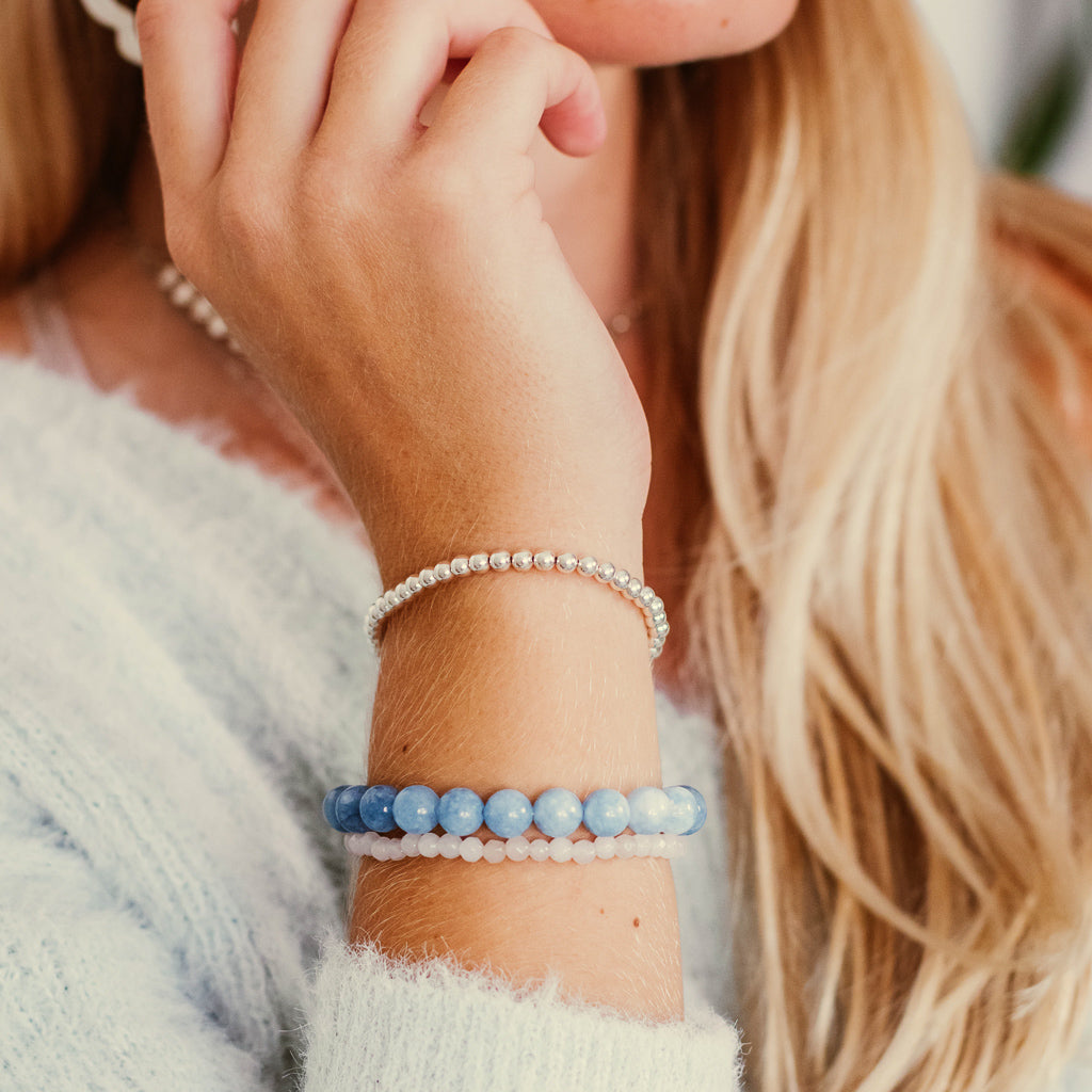 BLUE AGATE BRACELETS | SIZE OPTIONS