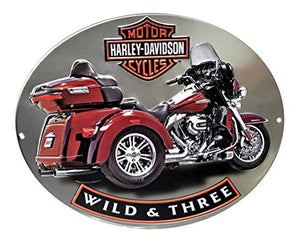 """WILD & THREE"" HARLEY-DAVIDSON® MOTORCYCLES TIN SIGN"