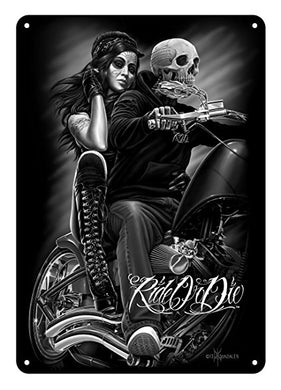 RIDE OR DIE - DAVID GONZALES ART®BIKER BABE TIN SIGN