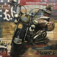 WALL ART - LARGE 3D METAL MOTORCYCLE - SIDE VIEW
