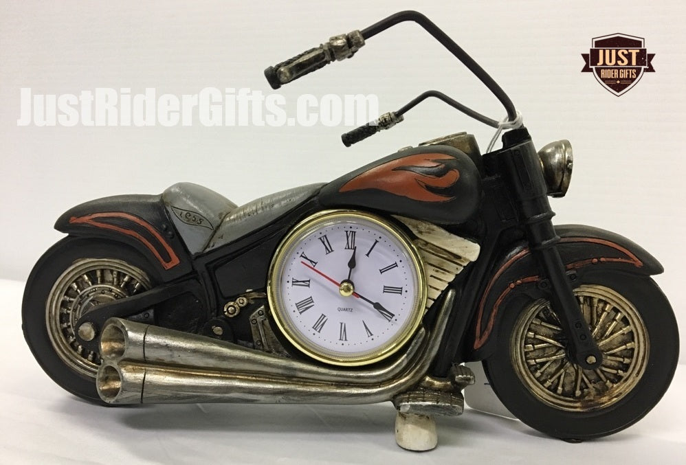 CLOCK - MOTORCYCLE WITH FLAMES
