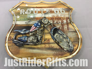 ROUTE 66 WALL ART -STARS AND STRIPES MOTORCYCLE